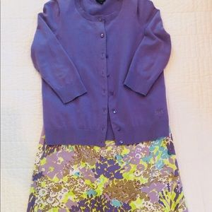 Talbots Floral Skirt and Coordinating Cardigan